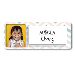 Medium Photo Name Label - Zig Zags