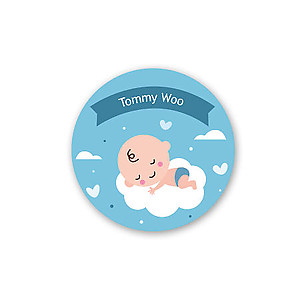 Round Name Label - Baby Asleep