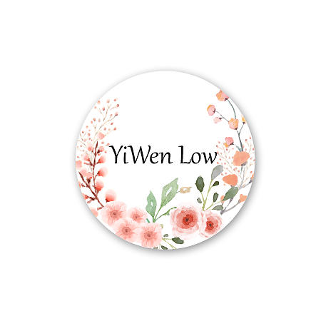 Round Name Label - Flowers