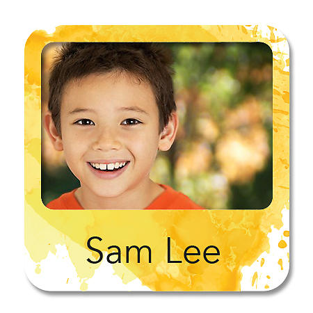 Square Photo Name Label - Yellow Splash