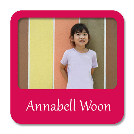 Square Photo Name Label - Dark Red